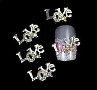 10pcs     Love Letter 3D Rhinestone Alloy Accessories Nail Art Decoration