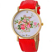 Damenmode Stil Blumenmuster PU-Band Quarz-Armbanduhr (farbig sortiert)