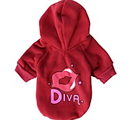 Cat / Dog Hoodie Red / Pink Dog Clothes Winter Letter & Number