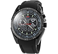Men's Multifunctional Dual Time Zones Silicone Band Wrist Watch