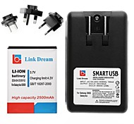 Link Dream  Cell Phone Battery+Charger+3 x Adapters  for Samsung Galaxy S5830 /Galaxy Ace(2500 mAh)