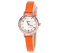 Women's Gold Case Slim PU Band Quartz Wrist Watch (Assorted Colors)