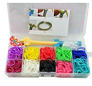 DIY Latex Bands Crystal Pendants Ornaments Accessories Hook Kits with Storage Case Rainbow Color Loom