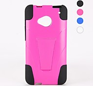 Solid Colour PC and Silicone Case Design with Stand for HTC M7(Assorted Colors)