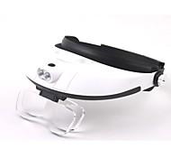 lente múltiple bidireccional lupa regulación cabeza-vistiendo con 2 LED de luz (3 x AAA)