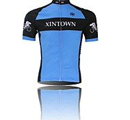 XINTOWN Men 's Contracted Breathable Polyester Short Sleeve Cycling Jersey -Blue