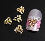 10pcs   3D Rhinestone Gold Bowknot Alloy Accessories For Finger Tips Nail Art Decoration