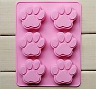 Moldes de 6 buracos de gato forma pata bolo de gelo geléia de chocolate, silicone 18,5 × 14,1 × 1,6 cm (7,3 × 5,6 × 0,6 polegadas)