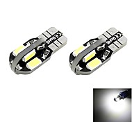 T10 2W 8x5730 SMD LED 100lm 6000K Cool White Light Dome Reading Side Marker Bulb for Car (DC 12V , 2-Pack)