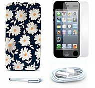 Beautiful Daisy Pattern Hard Case and Screen Protector and Stylus and Cable for iPhone 4/4S
