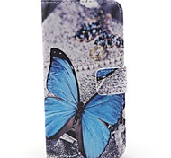 Butterfly Pattern PU Leather Full Body Case with Stand for iPhone 4/4S