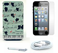 Music Cats Pattern Hard Case and Screen Protector and Stylus and Cable for iPhone 4/4S