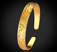 u7® vendimia dragón chino clásico nupcial 18k brazalete de oro grueso lleno pulsera plateado para las mujeres