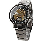 Men's Skeleton Hollow Case Steel Band Automatic Self Wind Wrist Watch (Assorted Colors)