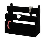 Classic High Grade Three Floors Showing Stand Black Wood Flannelette Jewelry Displays(1 Pc)