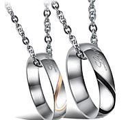 Mode herzförmigen Puzzle Titan Stahl Halskette Ring Paare