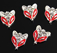 10pcs Fox Design Red Drip Oil Clear Rhinestone 3D Alloy Nail Art Decoration