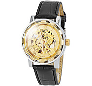 Men's Auto-Mechanical Luxury Skeleton Black Leather Band Wrist Watch (Assorted Colors)