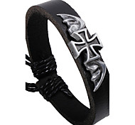 Men's Multilayer Cross Black Leather Wrap Bracelet