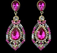 Vintage Luxury Elegant Ocean Blue Rhinestone Big Fashion with Rhinestone Drop Earings(Pink)(1 pair)