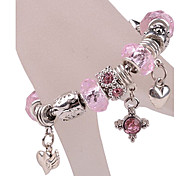 Pink Heart Star Charm Bracelet