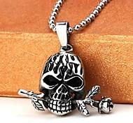 de acero de titanio de la moda collares rosas cráneo colgante de los hombres