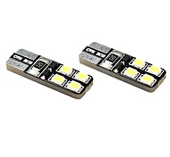 T10 1W 8x2835 SMD LED 70lm 6000K Cool White Light Dome Side Marder Bulb for Car (DC 12V , 2-Pack)