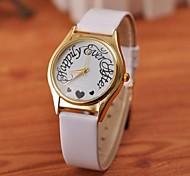 Women's Fashion Simple Love Gold Plate Watches(Assorted Colors)