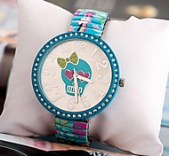 Women's Fashion Bow Skull Steel Band Set Auger Leisure Watches