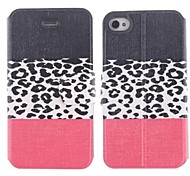 Three Color Leopard Grain Design PU Leather Full Body Case with Stand and Card Slot for iPhone 4/4S