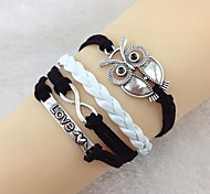 Vintage Owl 8 word LOVE 18cm Unisex  Leather Wrap Bracelet(1 Pc)