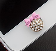 Bowknot Ornament Zircon Button Sticker