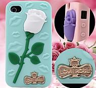 Rosa 3d e labbra sexy caso di gomma modello silicone per iphone4 / 4s (colori assortiti)