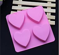 4 Hole Heart Shape Soap Cake Ice Jelly Chocolate Silicone Molds