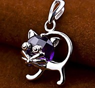 I FREE®S925 Silver Kittens Shape Inlaid Zircon And Natural Amethyst Pendant (1 pc)