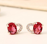 Luxurious Big Zircon Inlaid Rare Earth Glass Earrings