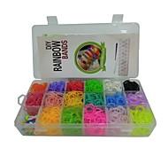 1280pcs color del arco iris del estilo telar twistz DIY pulseras de goma de silicona establecen con 25 s-clips, 1 gancho 17 de color
