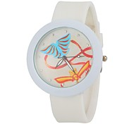 Women's Fashion Colorful Butterlfy Round Dial White Silicone Band Wrist Watch