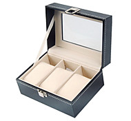 Classic Nice 3 Sets Watch Box Black Wood Leather Flannelette Jewelry Boxes(1 Pc)