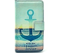 Anchor of Sea Forever Pattern PU Leather Cover Full Body Case with Card Slot for Nokia Lumia N520