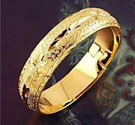 Classic Women's  24K Yellow Gold Filled Bangle Handcarved Star Pattern Bracelet 6CM,10MM Width