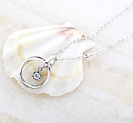Classic Ring925 Silver Plated Platinum Necklace (1 Pc)