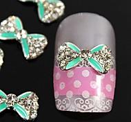 10pcs vert passage strass accessoires alliage noeud papillon à ongles nail art décoration