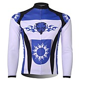 XINTOWN Men 's Fight the Wolf Breathable Polyester Long Sleeve Cycling Jersey—White+Blue