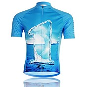 XINTOWN Men 's Waters Breathable Polyester Short Sleeve Cycling Jersey -Blue