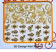 Latest Metal Children Art Nails Stickers With 3D Flower Butterfly Bee Pattern