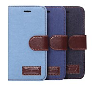 Denim PU Leather Full Body Case with Strap with Stent Card for iPhone 6 (Assorted Colors)