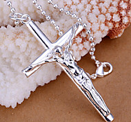 Fashion Long Jesus Shaped Silver Plating Silver Cross Male Pendant(Silver)(1Pc)