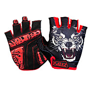 FJQXZ Lycra Microfiber Leather GEL Palm Red Breathable Summer Short Finger Cycling Gloves