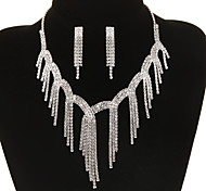Vintage Diamanted Tassel Shape Silver Jewelry Set(Necklace&Earrings)(1 Set)